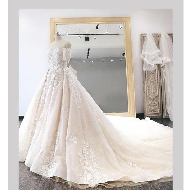 3d Lumière De Fleurs La 2019 Taille Luxe Hors Réel Robes Plus Champagne Mariée Noiva Robe Appliqued Épaule Photo qX6g6Enz