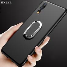 Metal Rotating Bracket Ring Silicone Case for huawei P10 P20