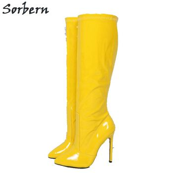 Sorbern Yellow Women Thin Heels Boots Patent Leather Knee Length Plus Size EU36-46 Botines Mujer 2019 Pointed Toe Real Boot