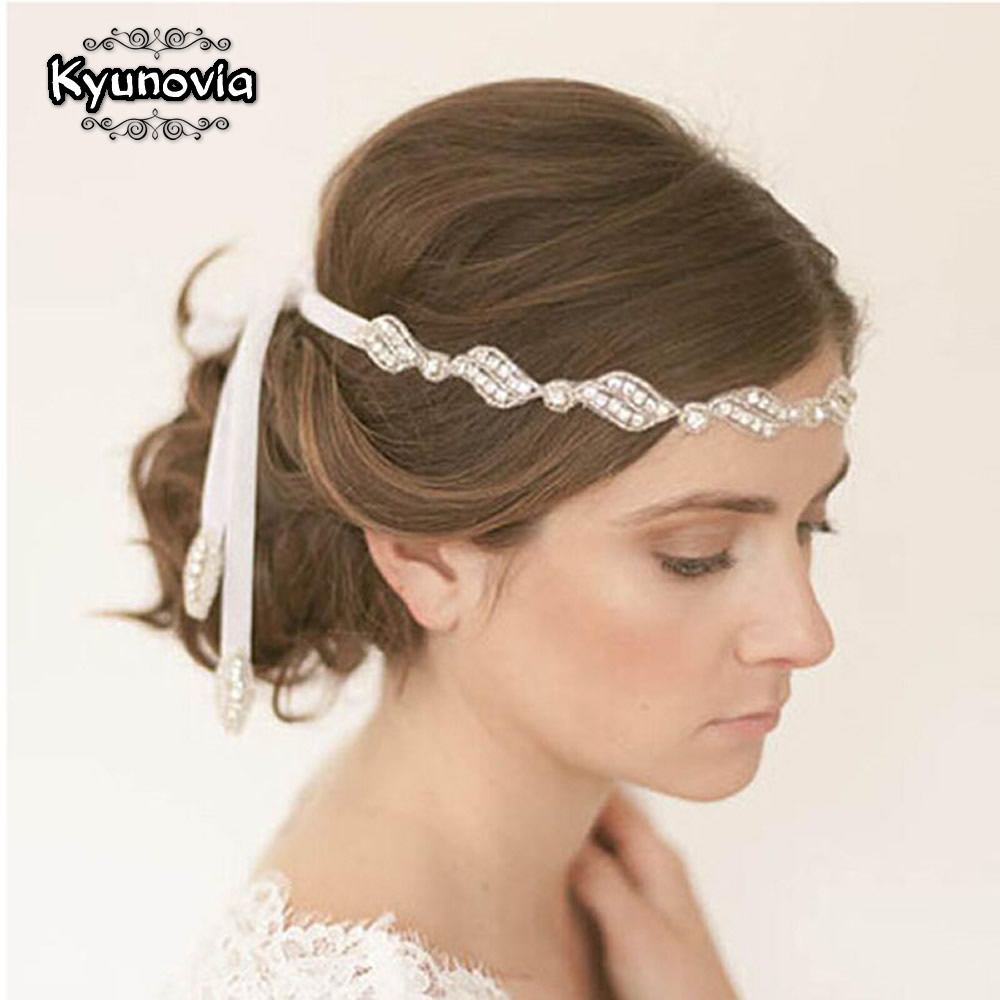 Kyunovia Polyester Ribbon Rhinestone Headband Headwear Crystal Headband Party Wedding Bridal Headwear Hair Accessories D32