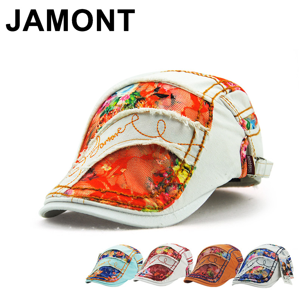 Jamont Womens Floral Printed Lace Newsboy Cap Duckbill Visor Artist Boina Beret Hat Summer Attractive Flat Peaked Hats For Girls