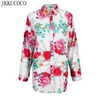 JKKUCOCO Chinese Style Peony Flowers Print Women Shirts Long Sleeve Thin Style Women Blouse Loose Cotton