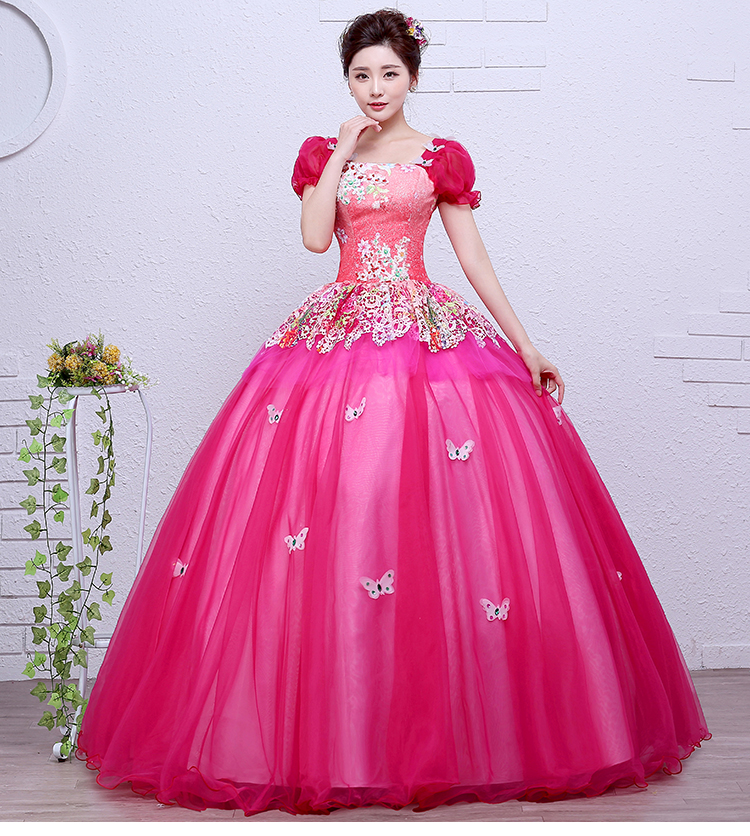 Fuchsia Gown: Hot Pink/yellow/green Bubble Sleeve Ball Gown Medieval