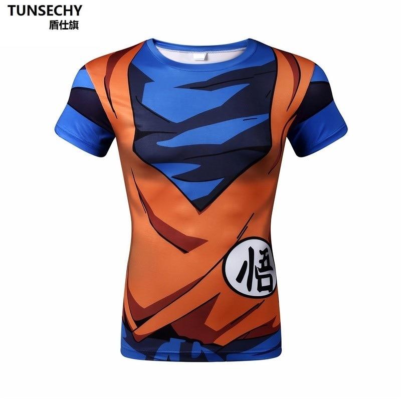 42df008c TUNSECHY T Shirt Men Summer Dragon Ball Z super son goku Slim Fit Cosplay  3D T