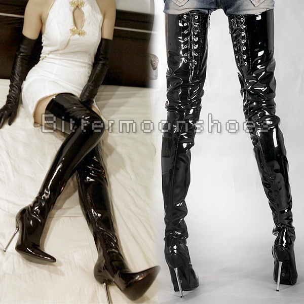 42ce4ee724f8 Sexy Women 120mm Over The Knee Patent Leather Thig High Lace Up Women Long  Boot Queen Hip Shoe Metal Dance Performance Shoes-in Over-the-Knee Boots  from ...