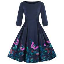 Kenancy Floral Print Women Vintage Dress   Swing Retro Dress Round Neck Half Sleeves Party Vestidos High Waist Dresses black random floral print half flared sleeves mini dress