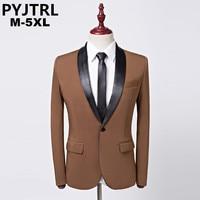 PTJTRL Men's Khaki Classic Shawl Collar Suit Jacket Single Button Wedding Business Men Blazer Designs Hombre Masculino Slim Fit