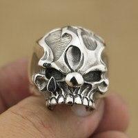 Linsion ручной работы 925 серебро Джокер череп кольцо мужские Байкер в стиле панк рок кольцо TA78 нам Размеры 7 ~ 15