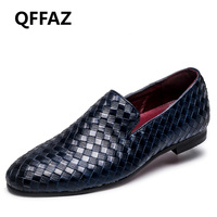 QFFAZ New Men Shoes Luxury Brand Braid Leather Casual Driving Oxfords Shoes Men Loafers Moccasins Italian