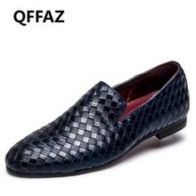 Qffaz nuevos hombres Zapatos lujo marca Braid cuero casual conducción Oxfords Zapatos hombres Mocasines moccasins Italian Zapatos para hombres pisos