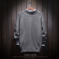 Male Braided Striation Bat Sleeve Loose Sweater Winter Warm Casual Sweaters Men Solid O Neck Jacquard