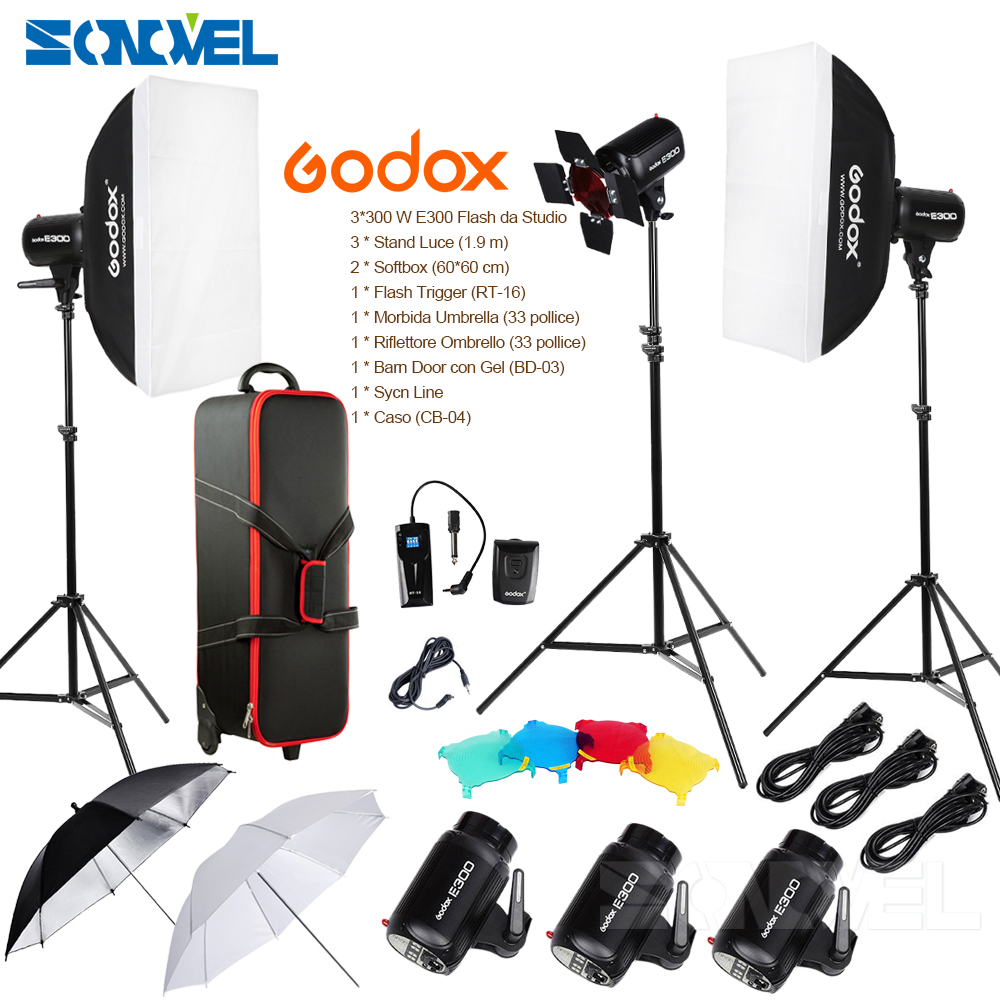 где купить Godox E300-D 14 in 1 Professional Photography Photo Studio Speedlite Lighting Lamp 3 * 300W Studio Flash Strobe Light Kit Set по лучшей цене