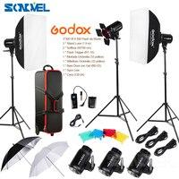 Godox E300 D 14 in 1 Professional Photography Photo Studio Speedlite Lighting Lamp 3 * 300W Studio Flash Strobe Light Kit Set
