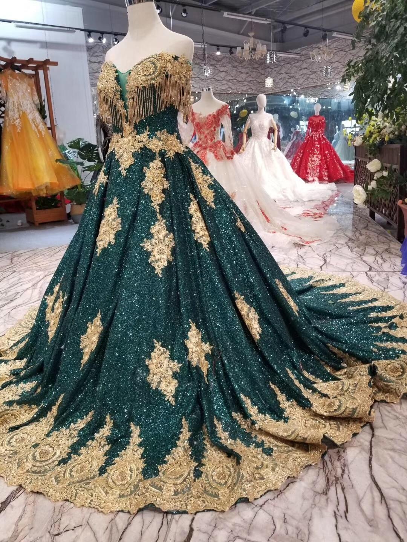 2019 Vintage longue robe de bal paillettes brillant or délicate Appliques robe de bal vert foncé (Blings tomber est Normal) pour la fête - 5