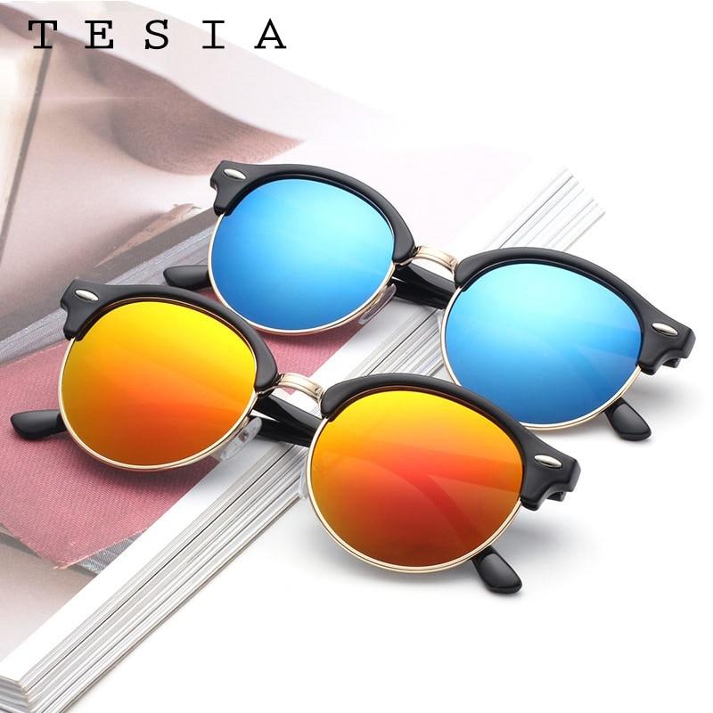 TESIA Club Runde Sonnenbrille Frauen Männer Nieten Halbrahmen Marke - Bekleidungszubehör - Foto 6