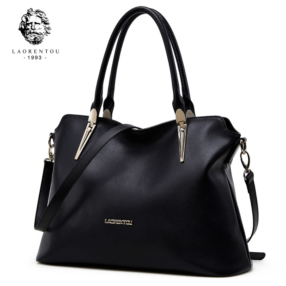 LAORENTOU Cowhide Leather Shoulder Bag Ladies Genuine Leather Luxury Handbags Women Bags Designer Lady Shoulder Bag