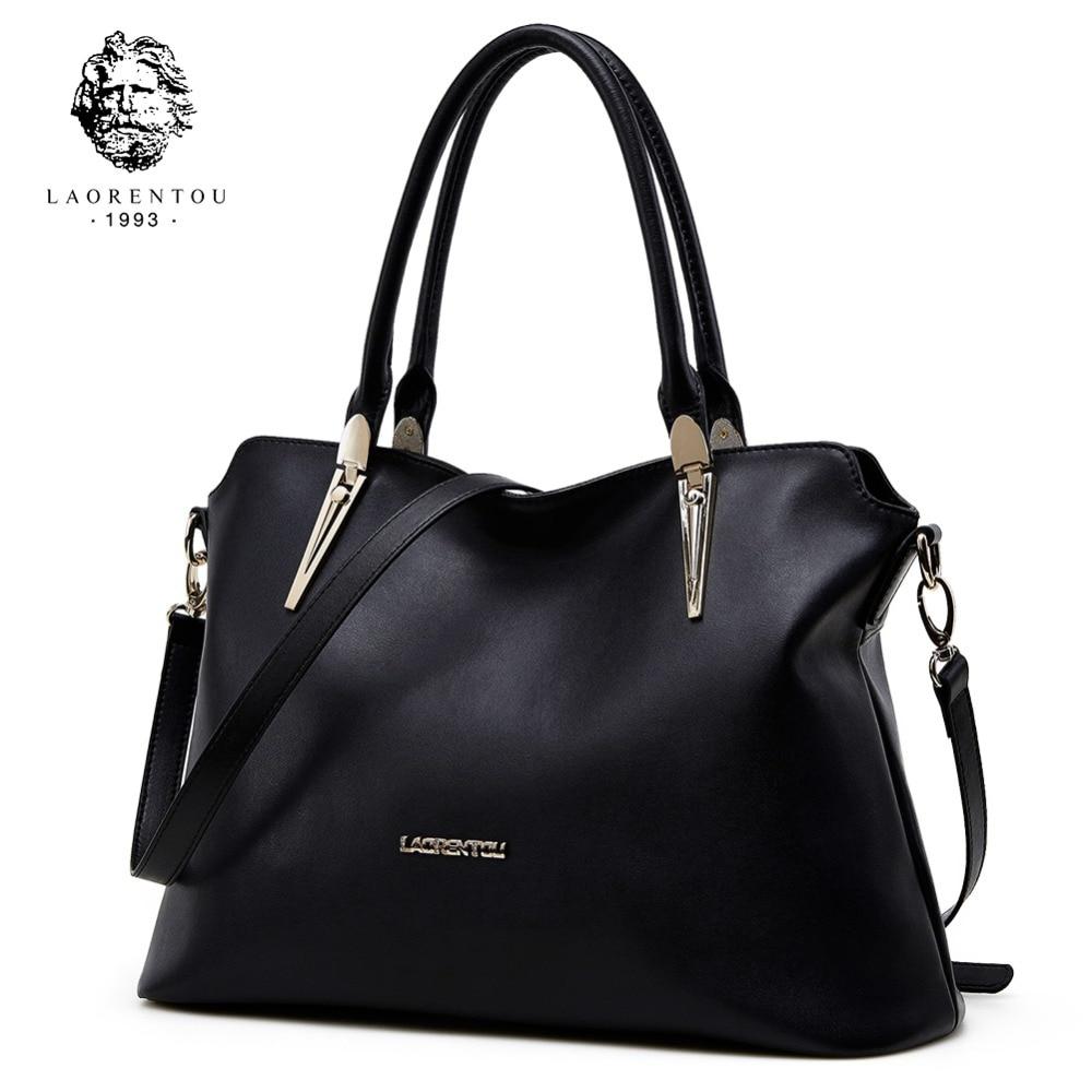 LAORENTOU Cowhide Leather Shoulder Bag Ladies Genuine Leather Luxury Handbags Women Bags Designer Lady Shoulder Bag