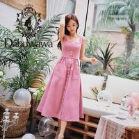 Dabuwawa Women Summer Clearance Pink Spaghetti Strap Midi Dress 2019 New Office Lady A line Elegant Button Dress DN1BDX004