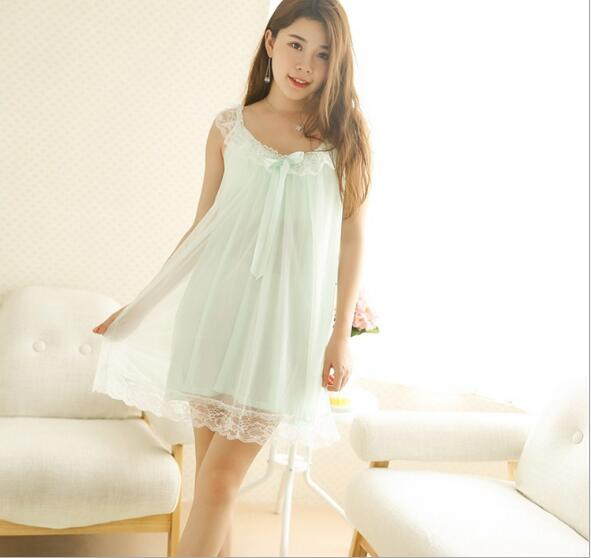 Nightgowns     Sleepshirts   2018 Lace Sleepwear Sexy Home Dress Spaghetti Strap Nightdress Modal Sleep & Lounge   Nightgown   Female