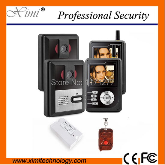 Two doors video door phone access control system 300m wireless villa video intercom with night version camera and remote control 300m wireless 7 inch video door phone wireless intercom system access control