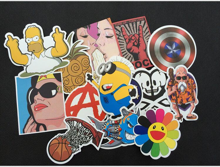 New 100pcs/lot Cartoon Wall Laptop Stickers For Guitar Box Skateboard Sticker Bicycle Motor Luggage Sticker On Phone 5-12cm Size