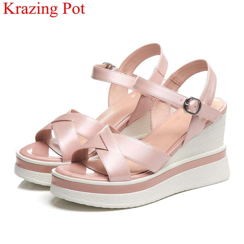 superstar big size peep toe solid wedges high heels women sandals party concise vacation buckle brand