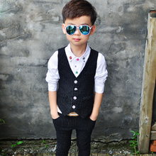 Baby Boys Suits 2017 Fashion Spring & Autumn Cotton Striped Vest + Pants 2 Pcs Boys Blazers Character Chlidren Clothing sb007