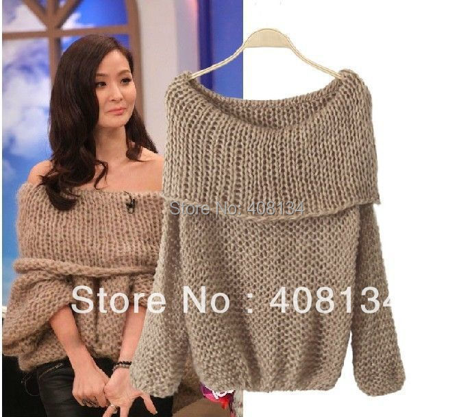 Lady Inspired Chunky Fuzzy Oversized Off Shoulder Loose Knitted Sweater Jumpe...