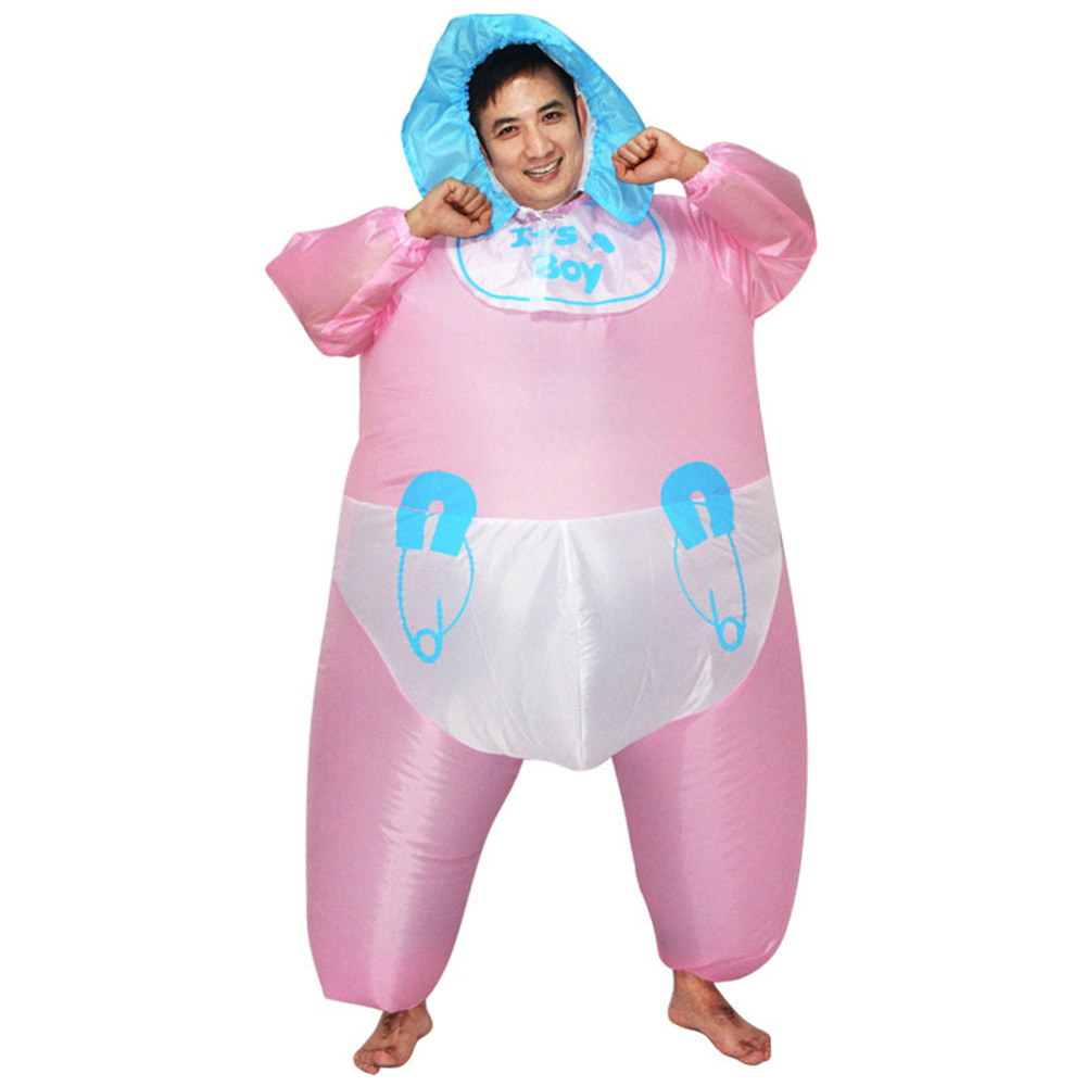 Inflatable Adult Baby Costume It's A Boy Hen Night Party Fancy Dress Pink Inflatable Blow Up Fat Suit Halloween Costumes pink