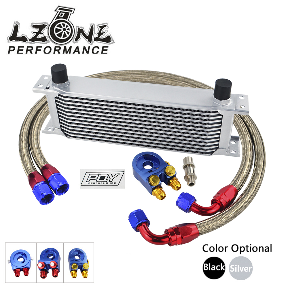 AN10 OIL COOLER KIT 13 ROWS OIL COOLER + OIL FILTER ADAPTER + STAINLESS STEEL NYLON BRAIDED HOSE WITH PQY STICKER+BOX цена