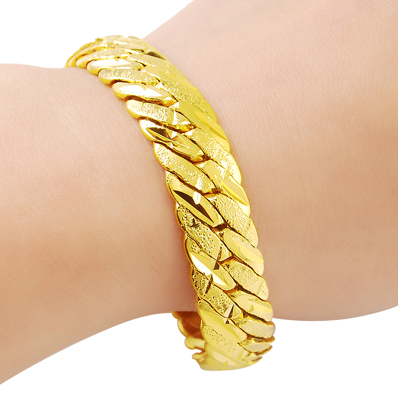 New Fashion 24K Gold Color Bracelet 12MM Yellow Gold Golden ...
