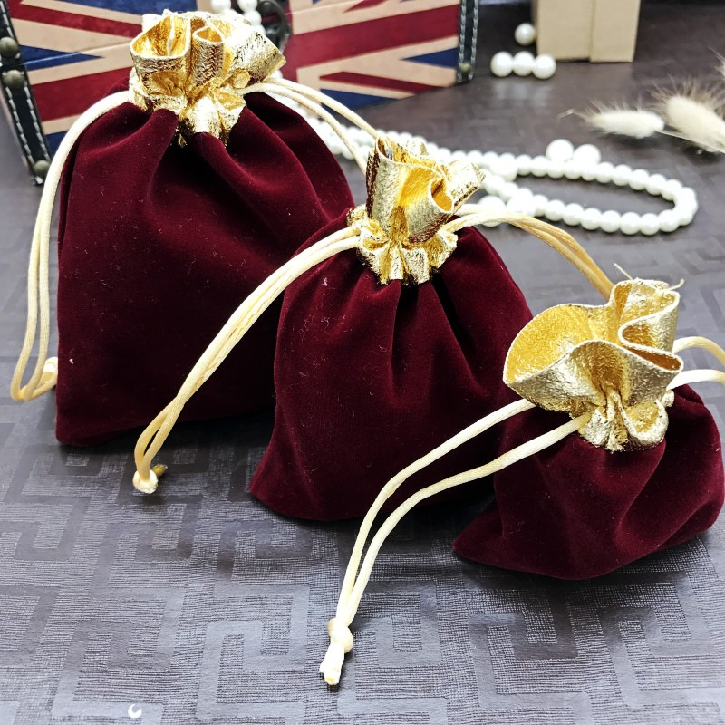 New 200pcs Wine Red Velvet Jewelry Bags 7x9 10x12 12x15cm Gold Mouth Jewelry Gift Bags Drawstring