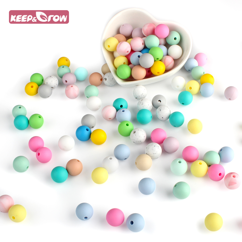 Keep&Grow 25Pcs Silicone Beads 12mm Eco-friendly Sensory Teething Necklace Food Grade Mom Nursing DIY Jewelry Baby Teethers