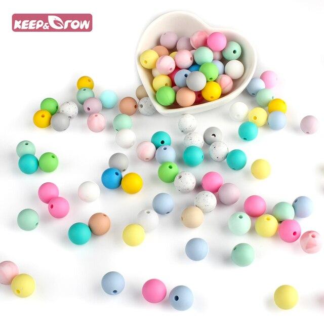 Manter & Grow 25 Pcs Silicone Beads 12 milímetros Ecológico Sensorial Colar Grau Alimentício Dentição Enfermagem Mãe DIY Jóia Do Bebê mordedores