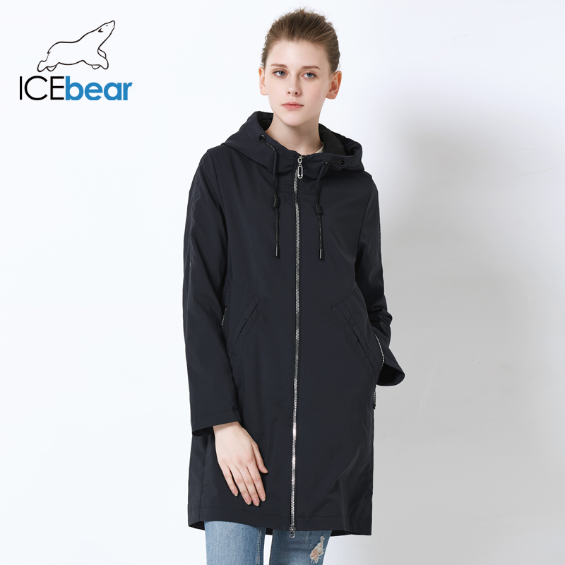 ICEbear 2019 Women autumn Windbreaker Single Row Zipper Design Casual Fashion women Trench Coat Long Brand