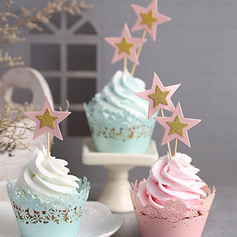 10PCS/Lot Twinkle Little Stars Cupcake Toppers Kids Birthday Party Decorations Wedding Event Party Supplies Cupcake Toppers