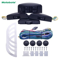 FEELDO 1Set Universal Moon Electronic Car Power Window Switch 8pcs Switches With Holder And Wire Harness For 4 Doors