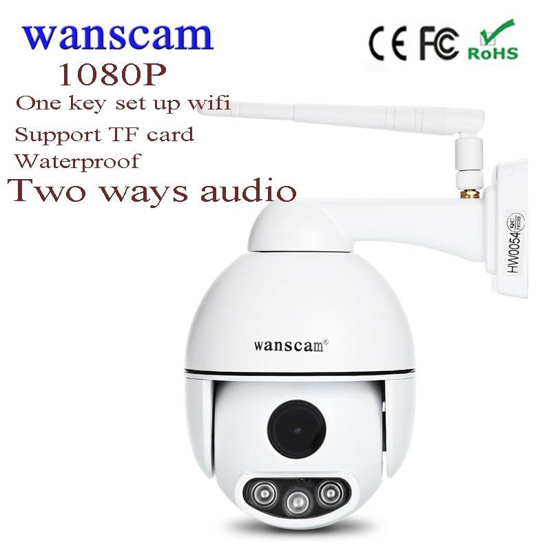 Nouveau wanscam Mini wifi PTZ IP Caméra 1080 P CCTV caméra sans fil 2MP dôme de sécurité Extérieure Support de Caméra TF carte Deux façons audio