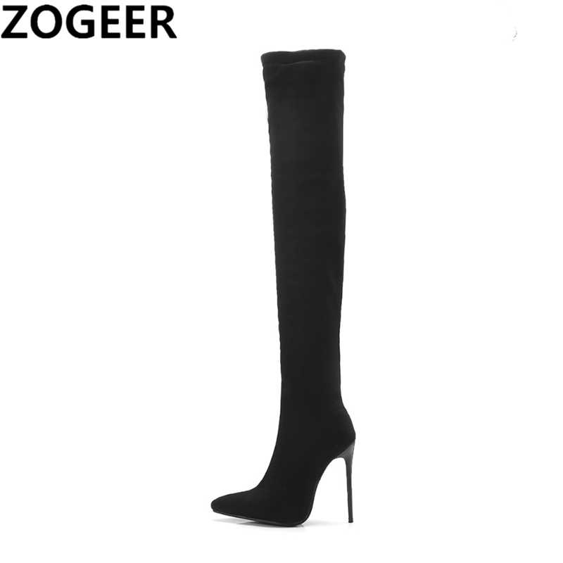 852961c7d8e Plus Size 48 Women Thigh High Boots 2019 Spring Sexy Over the Knee High  Boots Flock