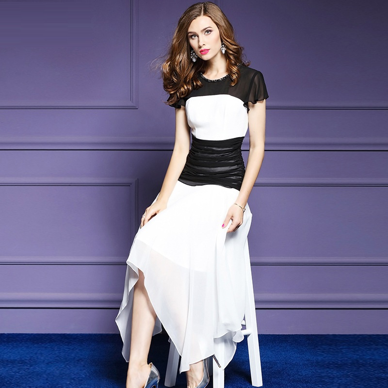 Nouveau Robe Longues cou La D'été Vêtements Robes Femmes Asymétrique Patchwork Pour Plus Bureau Travail Beige Sexy Taille Partie 2018 O Printemps HAqnXFXpx