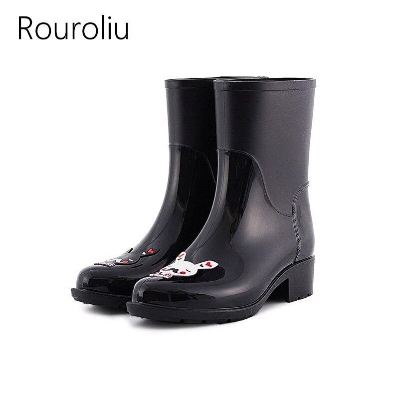 Rouroliu Women Hand-painted Rain Boots Mid-Calf Waterproof Water Shoes Woman Non-slip Wellies PVC Rainboots RT285 rouroliu women non slip mid calf rubber rain boots autumn pvc waterproof water shoes woman wellies slip on rb218