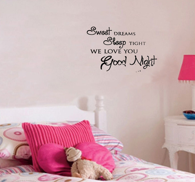 Sweet Dreams Sleep Tight We Love You Good Night Home Decoration Wall Art Decals Quote Living