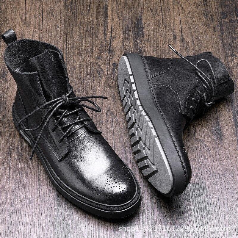 INOE мужские короткие зимние ботинки из овечьей кожи на меху на шнуровке для мужчин мужские полуботинки на шнуровке нескользящая подошва удо... - 3