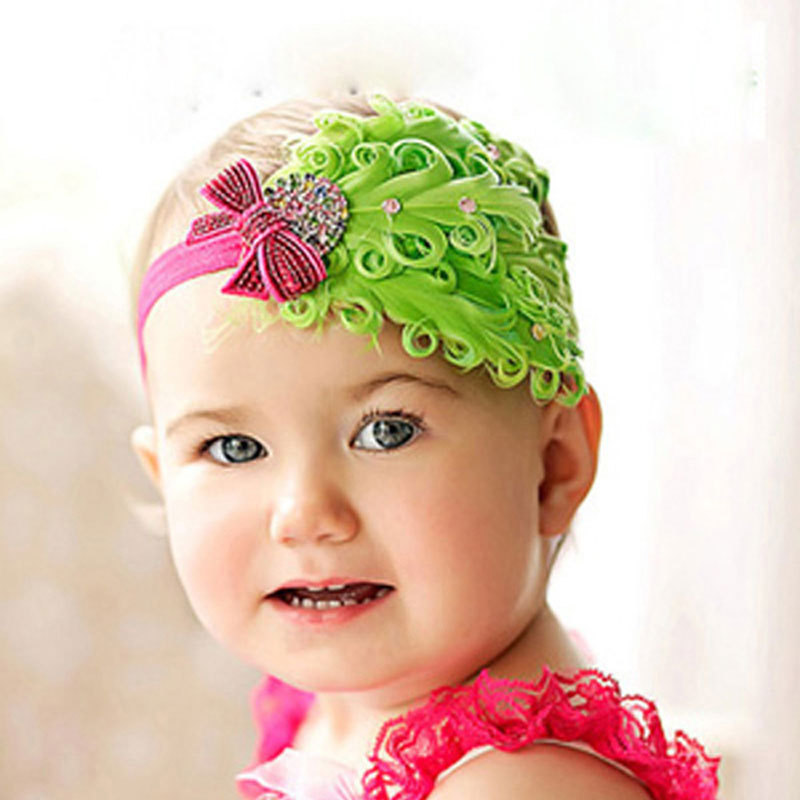 1pcs Baby Hair Band Feather Flower Bow