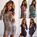 Новый 2017 Весна Зима Dress тенденции Моды Плед Отпечатано Dress Тонкий Пакет хип Случайные Сексуальные Dress Женщины Платья Vestidos
