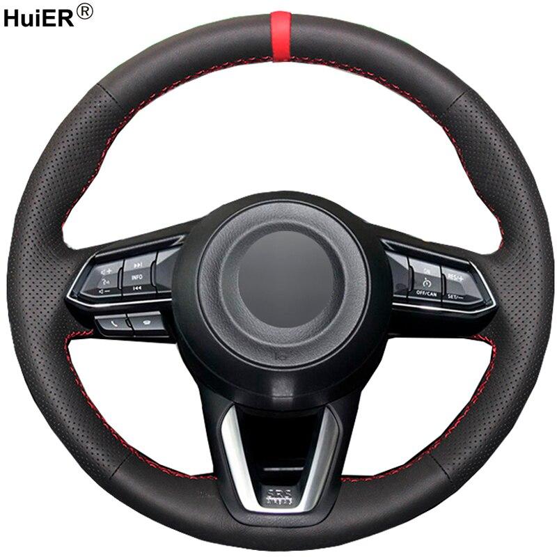 Hand Sewing Car Steering Wheel Cover For Mazda 3 Axela 2017 Mazda 6 Atenza 2017 2018 CX-5 CX5 2017 Mazda CX-9 2016 2017