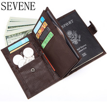 SEVENE NEW Men's Wallet Genuine Leather High Capacity Passport Holder Brand Vintage Cowhide Card Holder  Zipper&Hasp Coin Purse купить недорого в Москве