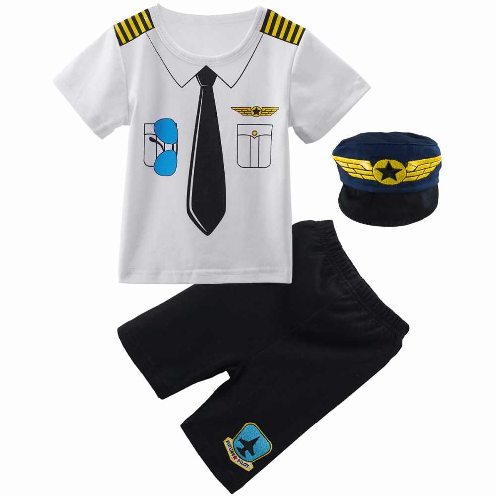 e2e4a4d4266 Baby Boys Pilot Police Clothes Sets Infant Newborn Halloween Cosplay Costume  for Boys Summer Short Sleeves