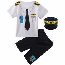 Baby Boys Pilot Police Clothes Sets Infant Newborn Halloween Cosplay Costume for Boys Summer Short Sleeves Top+Pants with Hat