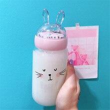 350ml Clear Glass Water Bottle Cute Rabbit Sequin Lid Drink Bottles Summer Portable Juice Lemon Milk Cup